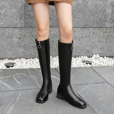 ZHR騎士靴女不過膝長靴秋款新款小個子長筒靴子前拉鏈顯瘦高筒靴