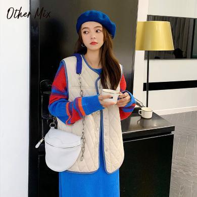 七格格棉服馬甲女2019新款冬季韓版寬松顯瘦短款無袖背心棉衣外套