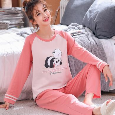 庫依娜內衣 女士長袖家居服韓版新款女士棉質長袖卡通睡衣套裝家居服 P1963