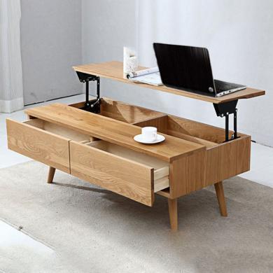 HJMM北歐實木簡約現代多功能升降茶幾餐桌兩用折疊小戶型原木橡木客廳