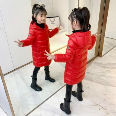 铭佳童话2019新款韩版女童装外套儿童洋气冬装女孩公主长款大童过膝羽绒服W9526YR01013