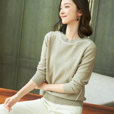 酷比兔 新款韩版秋冬针织衫短款低圆领套头毛衣女上衣     19120