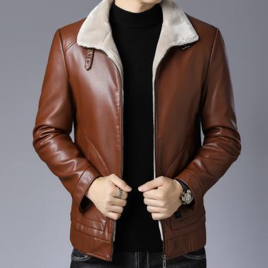 芃拉冬季新款男式休閑長袖皮衣時尚翻領潮流外套加厚保暖YXT-BL-811