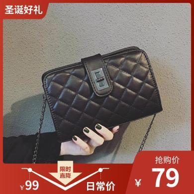 ins小包包女士韓版潮流菱格女包鎖扣鏈條單肩斜挎包N905