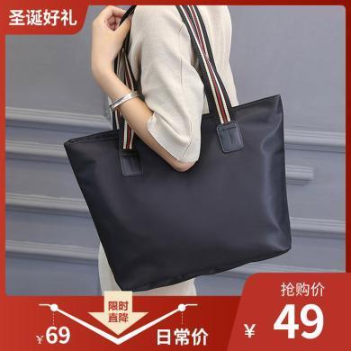 新款尼龍彩帶單肩大包包休閑時尚女包百搭時裝包托特女包N779