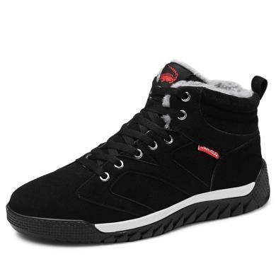 卡帝乐鳄鱼男士鞋子冬季加绒保暖棉鞋加厚板鞋韩版潮流男鞋休闲鞋高帮鞋KDL821