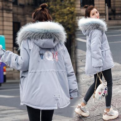 熤笙靘 女裝2019冬季新款韓版外套棉服時尚大毛領連帽女式棉衣    YH115