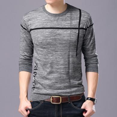 芃拉秋季新款男式休闲长袖羊毛衫时尚圆领潮流打底衫YXT-LXY-6865