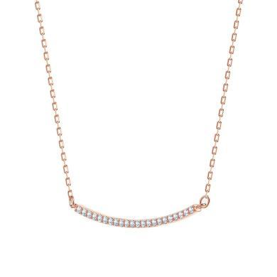 【支持購物卡】Swarovski施華洛世奇 ONLY系列 女士一字型微笑笑臉鎖骨項鏈 38cm 粉色金5464129