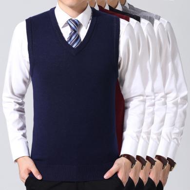 芃拉秋季新款男式中老年背心舒適休閑爸爸裝羊毛馬甲男上衣YXT-F31-8892