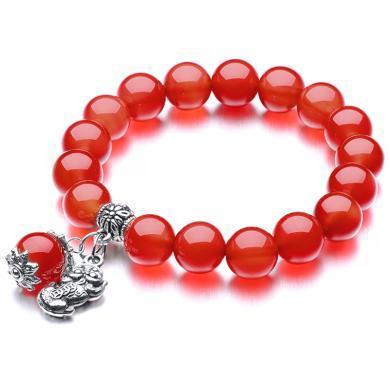 石玥珠寶 紅瑪瑙配貔貅手鏈 SY00069