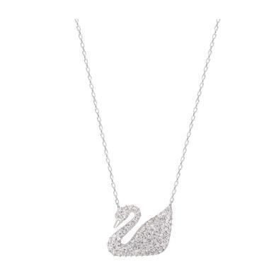【支持購物卡】Swarovski施華洛世奇 SWAN天鵝吊墜裝飾項鏈女白金色鎖骨鏈項鏈 5007735 銀色