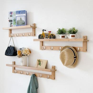 唯妮美 新款4钩客厅墙上木质置物架壁挂 卧室创意家居
