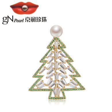 京潤珍珠 小樹 合金鑲淡水珍珠胸針  白色 7-8mm饅頭形