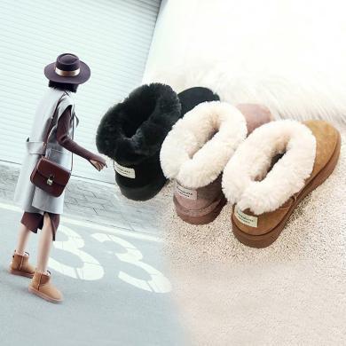阿么2019新款韩版冬季保暖雪地靴女加绒加厚短筒女靴时尚学生棉鞋11816AYD2982