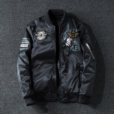 夾克外套夾克男士商務夾克風衣飛行服雙面穿夾克冬季夾克男加厚外套夾克時尚刺繡兩面穿棒球服ma1空軍面棉服夾克飛行服外套KST-B03