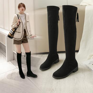 阿么黑色过膝长靴女2019秋冬新款流苏后拉链长筒靴子低跟增高女靴11817AKX3570