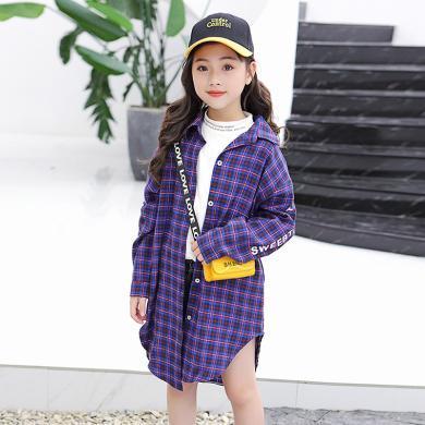 謎子 童裝春秋新款韓版中大童長袖襯衣時尚中長款女童格子襯衫潮