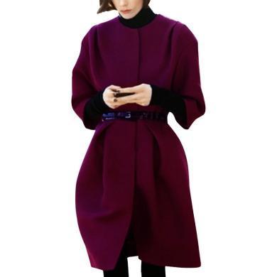 tobebery韓版女士外套洋氣時髦時尚2019冬季新款名媛氣質復古羊毛呢大衣潮