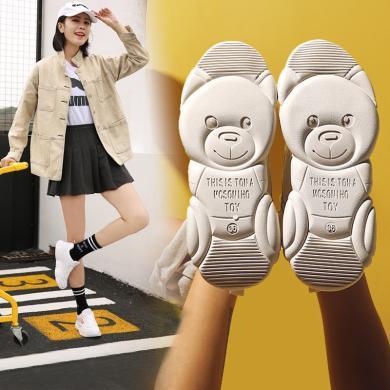 阿么老爹鞋2019新款春季小白鞋運動女鞋休閑網紅低幫小熊鞋女正版