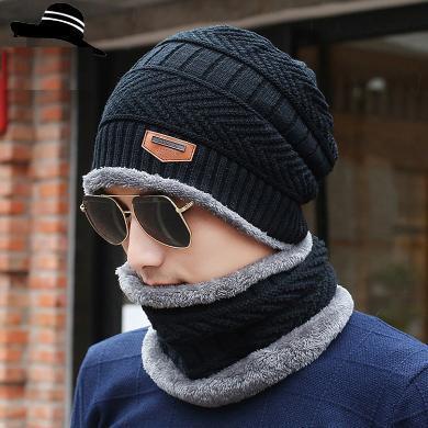 修?#21490;?#31179;冬天加绒套帽男?#31354;?#32455;帽子围脖两件套皮标护耳毛线帽JT064