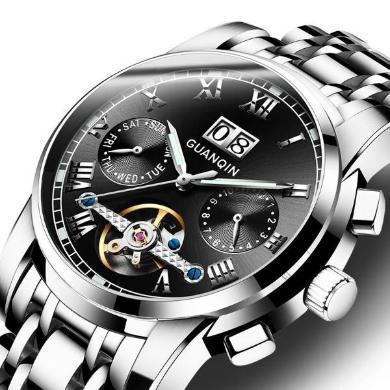 冠琴男士手表 全自動機械男表精鋼防水飛輪潮商務休閑2020新款腕表