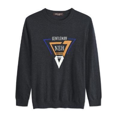 迪仕尼奴秋新品羊毛衫男士套頭長袖灰色T恤彈力修身百搭打底衫8715A
