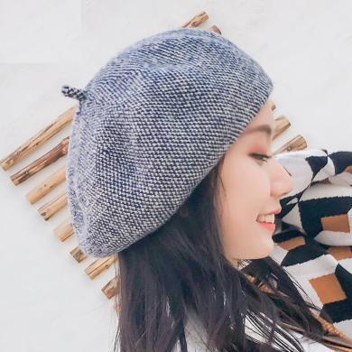 修?#21490;?#31179;冬新款羊毛贝雷帽子女小清新文艺花线画家帽网红同款保暖针织帽J L3-m8782