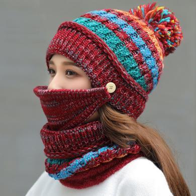 修允菲秋冬新款加絨針織帽子圍脖口罩三件套騎行護臉加厚毛線帽子女JP2-m8844