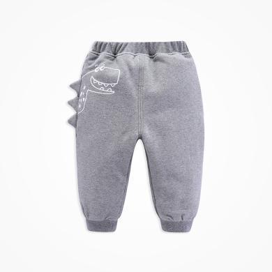 丑丑嬰幼 冬季男寶寶卡通加厚針織棉長褲 男童時尚休閑厚款保暖棉褲