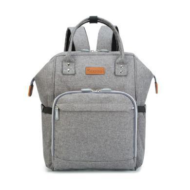 安茁 多功能大容量妈咪包母婴包双肩妈妈包外出宝妈背包 灰色