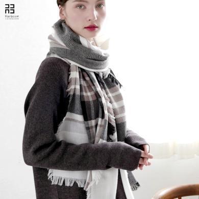 润帛 日系休闲纯羊毛围巾女格子薄款 春秋冬季保暖披肩两用