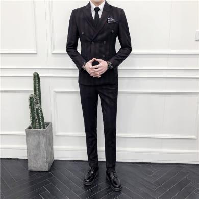 西裝西服套裝正裝西裝雙排扣西裝男套裝英倫修身條紋西裝三件套發型師正裝主持人服裝潮西裝西服CG-1809