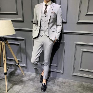 西裝西服套裝正裝西裝秋季新款西服套裝男士三件套修身韓版新郎結婚商務正裝條紋西裝男西裝西服CG-1909