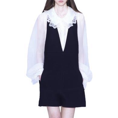 tobebery2019秋季新款法式小眾洋氣白色襯衫連體短褲套裝女時尚氣質兩件套