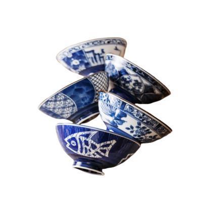 日本進口家用小碗陶瓷碗日式碗 5個裝 花色隨機發貨