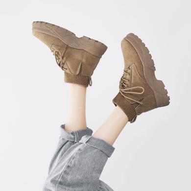 新款韩版高帮鞋女弹力拼接马丁靴工装靴潮鞋棉鞋女短靴YG7222