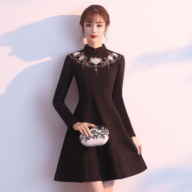 亿族 改良旗袍连衣裙女秋冬新款年轻少女甜美中国风长袖裙子