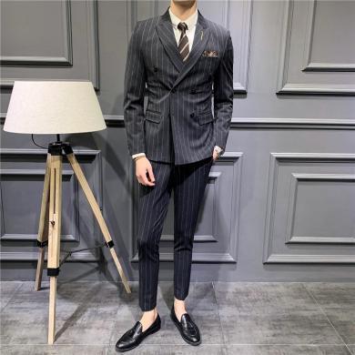 西裝西服套裝正裝西裝新郎西服套裝男士結婚禮服韓版修身條紋雙排扣西裝男套裝四季正裝西裝西服CG-1908