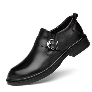 公牛世家男鞋英倫時尚商務正裝皮鞋套腳牛皮鱷魚紋男鞋 9521