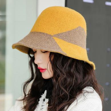 修允菲系新款保暖針織帽子女士韓國冬季拼色時尚百搭氣質羊毛漁夫帽子Jm9449-2