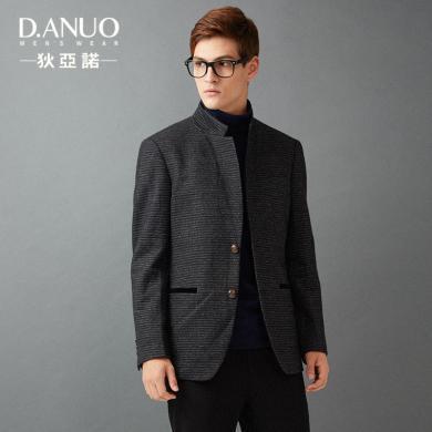 狄亚诺男士商务舒适羊毛条纹休闲西服男修身立领西装单西便西秋装 215307