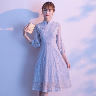 亿族 秋季新款改良版气质旗袍连衣裙复古修身显瘦中长款九分袖裙子女