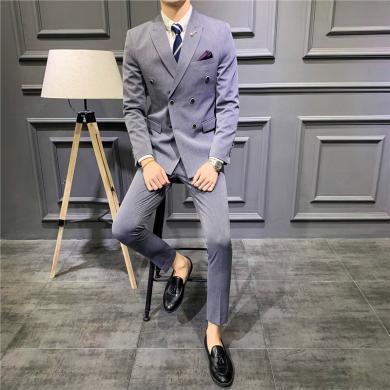 西裝西服套裝正裝西裝春季新款男士西服休閑商務雙排扣西裝套裝韓版純色新郎禮服三件套西裝西服CG-1906