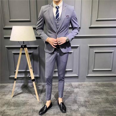 西裝西服套裝正裝西裝高檔男式西裝三件套時尚男士正裝新郎伴郎小西裝韓版修身純色西服西裝西服CG-1905