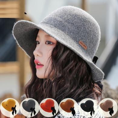 修允菲系新款后蝴蝶結文藝針織帽子女士韓國冬季新款氣質百搭漁夫帽子JE3-m9427