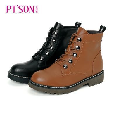 百田森时尚靴子筒英伦鞋冬ins靴女鞋带新款森低复古马丁风女帮短单PYQ18860