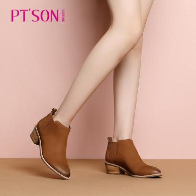 百田森 圓頭純色中粗跟時尚潮流短靴PYQ18803