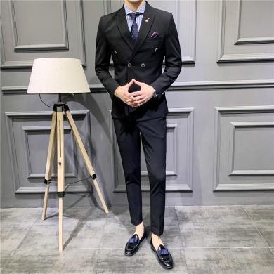 度普森男裝 西裝西服套裝正裝西裝春季新款男士西服休閑商務雙排扣西裝套裝韓版純色新郎禮服三件套西裝西服CG-1906