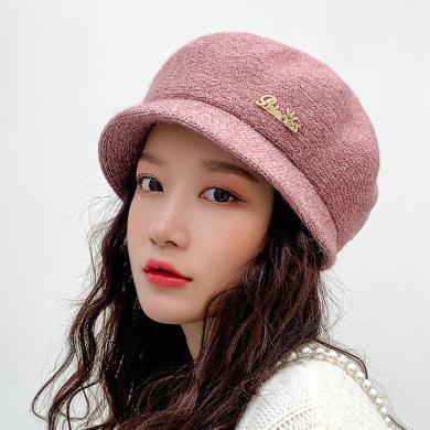 修?#21490;?#20908;季新款加绒保暖护耳针织帽韩版时尚简约百搭中?#22799;?#40493;舌帽子女士JR1-m9365